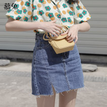 skirt Summer 2021 S M L navy blue Short skirt commute High waist A-line skirt Solid color Type A 18-24 years old MT3020 More than 95% Denim Moxa rabbit cotton Button Cotton 98% other 2% Pure e-commerce (online only)