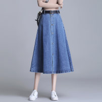 skirt Spring 2021 M L XL 2XL 3XL 4XL Blue black longuette commute High waist A-line skirt Solid color Type A 25-29 years old BBJ-5503 91% (inclusive) - 95% (inclusive) Denim Bibigan polyester fiber pocket Korean version Other polyester 95% 5% Pure e-commerce (online only)