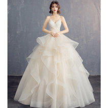 Wedding dress Spring 2021 Qi Di wedding dress S. M, l, XL, XXL, customized Simplicity Fluffy skirt Bandage Hotel Interior Sling type Gridding yarn Three dimensional cutting middle-waisted 18-25 years old flower Sleeveless shawl Up.sky/shangfei Large size Non handmade flower