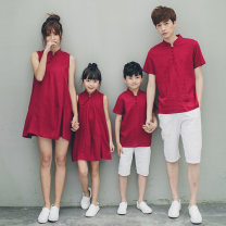 Parent child fashion Red short red long dress white pants A family of three Women and men Mdenly / Madonna summer ethnic style Thin money Solid color suit cotton L M XL XXL Cotton 70% hemp 30% Class B M L XL XXL Summer 2021 Chinese Mainland