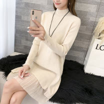sweater Autumn 2020 S M L XL Long sleeves Socket singleton  Medium length other 95% and above Half high collar thickening commute routine Solid color Straight cylinder Fine wool Keep warm and warm Autumn blossoms Patchwork lace Other 100% Pure e-commerce (online only)