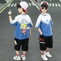 suit extremely 110cm 120cm 130cm 140cm 150cm 160cm male summer leisure time Short sleeve + pants 2 pieces Thin money There are models in the real shooting Socket nothing Cartoon animation cotton children Expression of love Class B Other 100% Summer 2021