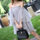 Dress Summer 2020 Genuine greyish purple for shorts genuine (white) for shorts genuine black for shorts S M Middle-skirt singleton  three quarter sleeve Sweet One word collar Loose waist Solid color Socket A-line skirt pagoda sleeve Breast wrapping 18-24 years old Type A Luxury ladies HSWSYZ-05 other