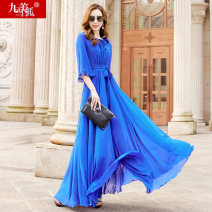 Dress Summer 2021 Light blue dark blue S M L XL XXL longuette singleton  elbow sleeve street Crew neck High waist Solid color Socket Big swing routine Others 30-34 years old Type A Jiumei snow fox Lotus leaf edge JMXHLYQ493 More than 95% Chiffon polyester fiber Polyester 100% Europe and America