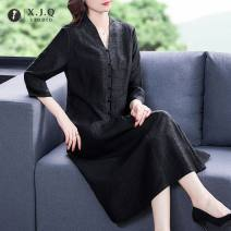 Dress Spring 2021 black L XL 2XL 3XL 4XL 5XL longuette singleton  elbow sleeve commute V-neck Loose waist Solid color Single breasted A-line skirt routine Others 35-39 years old Type A Xianjiaoqian Retro Button 7666-1 More than 95% other other Other 100%