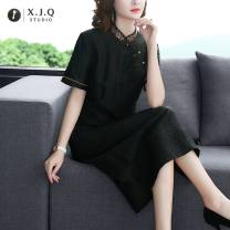 Dress Summer 2021 black L XL 2XL 3XL 4XL longuette singleton  Short sleeve commute stand collar Loose waist Solid color Socket 35-39 years old Type A Xianjiaoqian Retro 1931-2 More than 95% other Other 100% Pure e-commerce (online only)