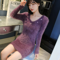 Wool knitwear Autumn of 2019 S M L XL Long sleeves singleton  Socket other More than 95% Medium length routine Sweet Self cultivation V-neck routine Plants and flowers Socket 25-29 years old Other 100% Pure e-commerce (online only) Mori