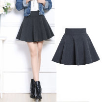 Dress Winter 2016 Black [with safety pants], gray [with safety pants], black [with pockets], gray [with pockets] M,L,XL,2XL,3XL Short skirt High waist A-line skirt pdd#180060667 Wool