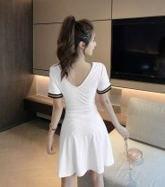Dress Summer 2020 Pink, white, black, yellow, red M,XL,L,S Short skirt singleton  Short sleeve Sweet Admiral High waist Solid color Socket A-line skirt routine Others 18-24 years old Type A 81% (inclusive) - 90% (inclusive) knitting cotton Ruili