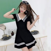 Dress Summer 2021 Black, white, red, light green, new light bean green 321, new black 321, new white 321, new pink 321 S,M,L,XL Short skirt singleton  Short sleeve Sweet Admiral High waist Solid color Socket Princess Dress other 25-29 years old cotton solar system