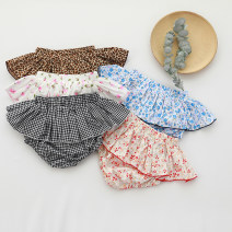 trousers Xinguoguo female 90cm,100cm,110cm,120cm Leopard Print , Pink floret , Blue floret , Floral  , Black grid summer shorts lady No model Culotte Leather belt middle-waisted Pure cotton (100% content) Don't open the crotch Cotton 100% Class A Chinese Mainland Hunan Province Yiyang City