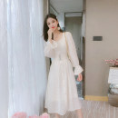 Dress Autumn 2020 Off white S,M,L,XL longuette singleton  Long sleeves commute square neck middle-waisted Solid color Single breasted Big swing puff sleeve Others 25-29 years old Type A Korean version 71% (inclusive) - 80% (inclusive) Lace other
