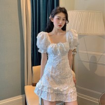 Women's large Summer 2021 Picture color Large L, large XL, m, 2XL, 3XL, 4XL singleton  commute Short sleeve Retro square neck other puff sleeve Other / other 18-24 years old 30% and below Short skirt Cake skirt shorts bow