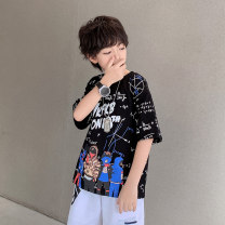 T-shirt White black Young master 135cm 145cm 155cm 165cm 175cm male summer Short sleeve Crew neck Cool There are models in the real shooting nothing cotton Cartoon animation Cotton 95% other 5% IXZXC00D Class B Summer 2021 Chinese Mainland Shandong Province Weihai City