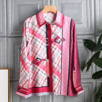 shirt Red and green S M L XL Summer 2021 silk 96% and above Long sleeves commute Regular Polo collar Single row multi button shirt sleeve lattice 35-39 years old Straight cylinder Qiao qionger lady Printed button Mulberry silk 100% Pure e-commerce (online only) real silk