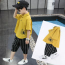 suit Happy bell Yellow white purple 110cm 120cm 130cm 140cm 150cm 160cm male summer leisure time Short sleeve + pants 2 pieces routine There are models in the real shooting Socket nothing other cotton children Learning reward BT92183M Class B Cotton 100% Autumn of 2019 Chinese Mainland Hangzhou