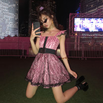 Dress Summer of 2019 Dream powder S code in stock, M code in stock Short skirt singleton  Sleeveless commute High waist Decor Single breasted A-line skirt Flying sleeve camisole Type A Retro Ruffle, pleat, bright silk, diamond, open back, stitching other