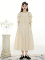 Dress Summer 2021 Cream yellow S,M,L longuette singleton  elbow sleeve Sweet Crew neck High waist Solid color A-line skirt puff sleeve Others Type A Hollow, lace More than 95% other cotton