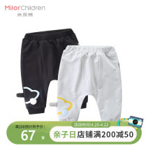 trousers Milo bear male 80cm 90cm 100cm 110cm Grey black trousers Big PP pants Cotton 95% polyurethane elastic fiber (spandex) 5% W5007KA18 Class A W5007KA18 12 months 18 months 2 years 3 years old
