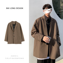 man 's suit Brown Black Youth fashion routine S M L XL 2XL Polyester 100% Winter 2020 easy Double breasted Other leisure No slits Pure e-commerce (online only) teenagers Long sleeves spring routine tide Casual clothes Regular collar (collar width 7-9cm) Round hem Solid color Polyester viscose