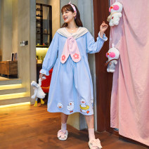 Nightdress Han Ziduo 21C1093 1162 1147 1151 1139 1141 S M L XL XXL Sweet Long sleeves Sports Home longuette spring Cartoon animation youth Crew neck cotton printing More than 95% pure cotton CS21C1093 200g Spring 2021 Cotton 100% Pure e-commerce (online only) Cotton 100%