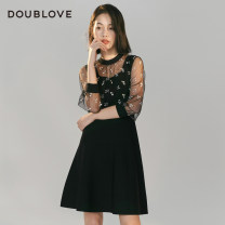 Dress Winter 2020 black 2/S 3/M 4/L 5/XL Middle-skirt Fake two pieces Long sleeves Sweet Crew neck middle-waisted Solid color Socket routine Others 25-29 years old Type X DOUBLE LOVE DFGPA9401A More than 95% polyester fiber Polyester 100% Ruili Same model in shopping mall (sold online and offline)
