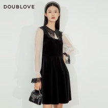 Dress Winter 2020 black 2/S 3/M 4/L 5/XL Middle-skirt singleton  Long sleeves Sweet Doll Collar middle-waisted Solid color other other Princess sleeve Others 25-29 years old Type X DOUBLE LOVE Patchwork lace More than 95% other Other 100% Ruili Same model in shopping mall (sold online and offline)