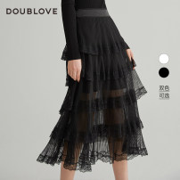 skirt Spring 2021 2/S 3/M 4/L 5/XL Black and white Mid length dress Sweet High waist Cake skirt other Type A 25-29 years old DFGPA3302A More than 95% DOUBLE LOVE polyester fiber Pleated lace Polyester 100% Same model in shopping mall (sold online and offline) Ruili