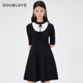 Dress Spring 2021 black 2/S 3/M 4/L 5/XL Middle-skirt singleton  elbow sleeve Sweet stand collar middle-waisted Solid color Socket routine 25-29 years old Type X DOUBLE LOVE BOW LACE DFGPA9404A 31% (inclusive) - 50% (inclusive) other nylon Ruili Same model in shopping mall (sold online and offline)