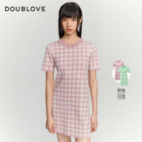 Dress Spring 2021 Pink Green 2/S 3/M 4/L 5/XL Middle-skirt singleton  Short sleeve Sweet Crew neck Socket A-line skirt routine Others 25-29 years old Type H DOUBLE LOVE DFGPA9405A 31% (inclusive) - 50% (inclusive) other acrylic fibres Polyacrylonitrile 45.7% wool 41.6% others 12.7% Ruili