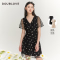 Dress Spring 2021 Black Beige 2/S 3/M 4/L 5/XL Middle-skirt singleton  Short sleeve Sweet V-neck middle-waisted Broken flowers other routine 25-29 years old Type X DOUBLE LOVE DFGPA4207A More than 95% Lace nylon Polyamide fiber (nylon) 100% Ruili Same model in shopping mall (sold online and offline)