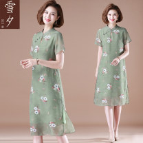 Middle aged and old women's wear Summer 2021 green L (within 105 kg recommended) XL (105-115 kg recommended) 2XL (115-130 kg recommended) 3XL (130-140 kg recommended) 4XL (140-155 kg recommended) fashion Dress easy singleton  Decor 40-49 years old Socket moderate stand collar Medium length routine