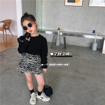 T-shirt Black undershirt in stock, zebra skirt with velvet, zebra skirt thin in stock Other / other 90cm,100cm,110cm,120cm,130cm,140cm,150cm female spring and autumn Long sleeves Crew neck Korean version There are models in the real shooting nothing cotton Solid color Cotton 85% others 15%