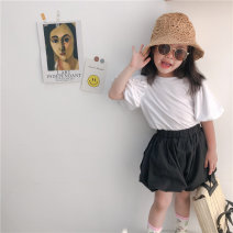 T-shirt Other / other 12 months, 18 months, 2 years old, 3 years old, 4 years old, 5 years old, 6 years old, 7 years old, 8 years old There are models in the real shot Cotton 85% others 15% cotton Solid color nothing Short sleeve Korean version female summer Purple, white