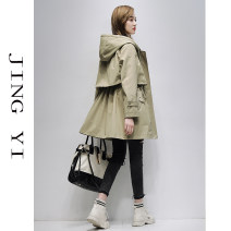 short coat Spring 2021 M L XL Light green yellow dark green pink Khaki Long sleeves Medium length Thin money singleton  easy routine Hood zipper Solid color Jingyi 96% and above JY21A0073 other Other 100%