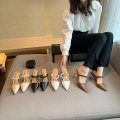 Sandals 35,36,37,38,39 Apricot, white, black, brown Superfine fiber Other / other Sharp point Fine heel Flat heel (1cm or less) Spring 2021 Flat buckle Korean version Solid color Adhesive shoes rubber daily Back space waterproof Low Gang Hollow Microfiber skin Microfiber skin Baotou sandals Shaving