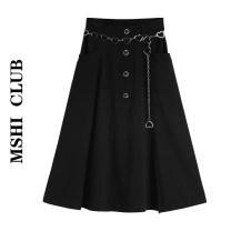 skirt Summer 2020 S,M,L Black skirt (with waist chain) Mid length dress Versatile Natural waist A-line skirt Solid color Type A 30% and below