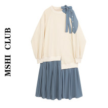 Dress Autumn 2020 Cream S, M Mid length dress Fake two pieces Long sleeves commute Crew neck Pleated skirt Type A 30% and below