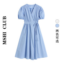 Dress Summer 2021 White, blue Average size Mid length dress singleton  Short sleeve Sweet V-neck High waist Solid color other A-line skirt puff sleeve Others Type A Bow, fold, lace 30% and below other other