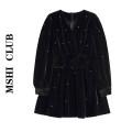 Dress Autumn 2020 black S,M,L Short skirt singleton  Long sleeves commute V-neck High waist Solid color Big swing puff sleeve Type A Korean version 30% and below