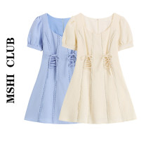 Dress Summer 2021 Apricot, blue S,M,L Short skirt singleton  Short sleeve commute square neck High waist Solid color Socket A-line skirt puff sleeve Others Type A Korean version Lace up 30% and below other other