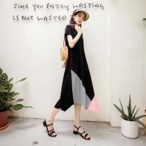 Dress Summer 2020 Black, apricot S,M,L,XL,2L,3L longuette singleton  Short sleeve 25-29 years old Orange bear DA7572