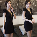 Dress Summer 2021 Black, white, black long sleeves S,M,L,XL,2XL,3XL,4XL Middle-skirt singleton  Short sleeve commute V-neck middle-waisted Solid color Socket One pace skirt routine Others Korean version Splicing More than 95%