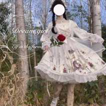 Dress Spring 2021 White (picture color) S,M,L Mid length dress singleton  Long sleeves Sweet Pile collar Broken flowers Princess Dress puff sleeve straps 18-24 years old Other / other Button, print, bow, lace, ruffle 81% (inclusive) - 90% (inclusive) other other Countryside