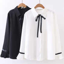 Women's large Spring 2021 Black, white Big XL [125-145 Jin], big 2XL [145-165 Jin], big 3XL [165-185 Jin], big 4XL [185-205 Jin] shirt singleton  commute easy moderate Socket Long sleeves Solid color Korean version Polo collar routine Three dimensional cutting pagoda sleeve jialong6185