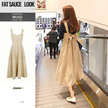 Dress Summer 2021 khaki S,M,L,XL Mid length dress singleton  Short sleeve commute High waist Solid color Single breasted Big swing other straps 18-24 years old Type A Korean version Bow, open back 31% (inclusive) - 50% (inclusive) cotton