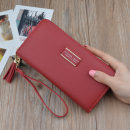 wallet Long Wallet PU MURDURAS Pink jujube red bean paste red black blue brand new Sweet Lady  female zipper Solid color 80% off Horizontal style youth Big cash clip, small change slot, zipper slot Color contrast polyester fiber JX-3274 soft surface Autumn and winter 2017