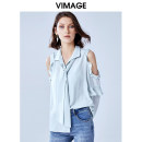 shirt AI Lu 46 S M L XL Summer 2020 polyester fiber 96% and above Long sleeves commute Regular other Frenulum other Solid color 25-29 years old Straight cylinder Vimage / Weiman period Simplicity V1309924 Lace up Polyester 100% Same model in shopping mall (sold online and offline)
