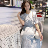 Dress Summer of 2019 White blue S M L XL Mid length dress singleton  Short sleeve commute Doll Collar Elastic waist Solid color Single breasted A-line skirt bishop sleeve Others 18-24 years old Type A Beautiful Nida Korean version Embroidered button with ruffle More than 95% Chiffon other Other 100%