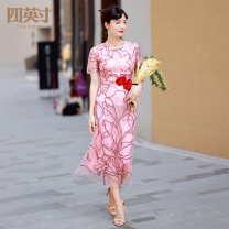 Dress Spring 2021 Pink S M L XL Mid length dress 35-39 years old Four inches / 4 inches More than 95% polyester fiber Polyester 100%